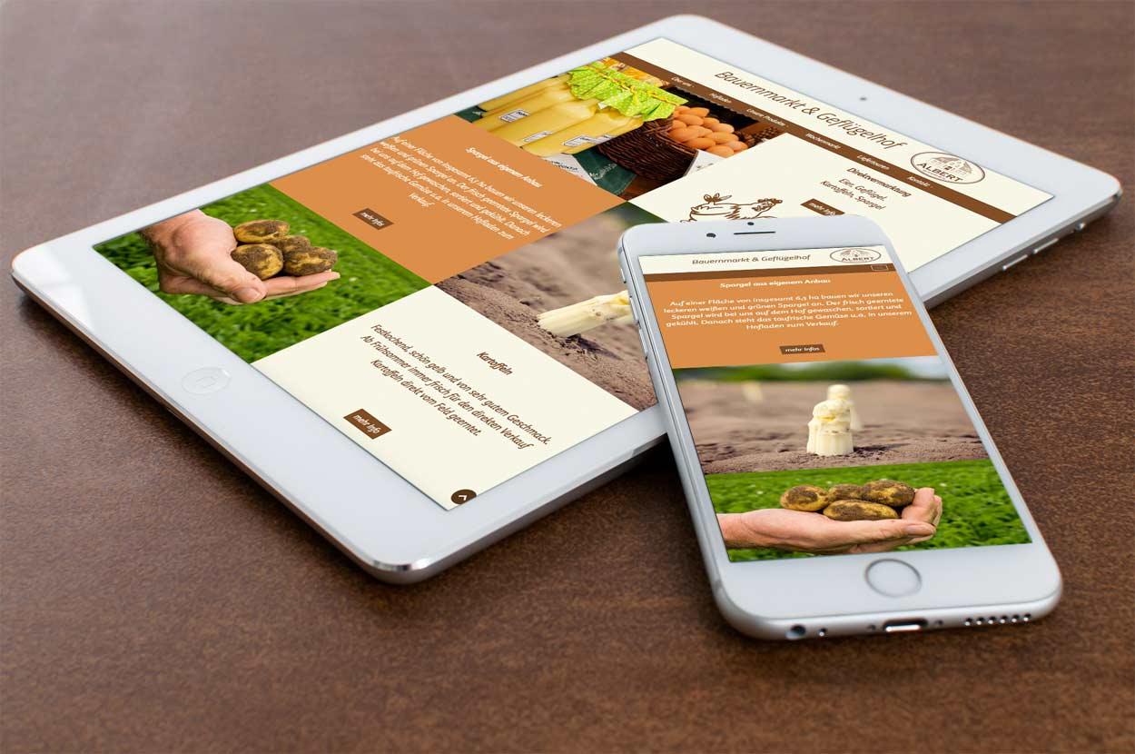mobiles Webdesign für Bauernmarkt Albert