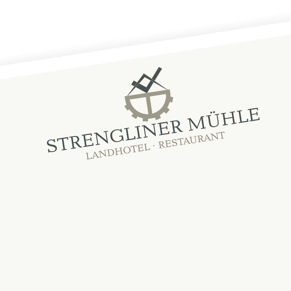 Logodesign für das Landhotel Strengliner Mühle