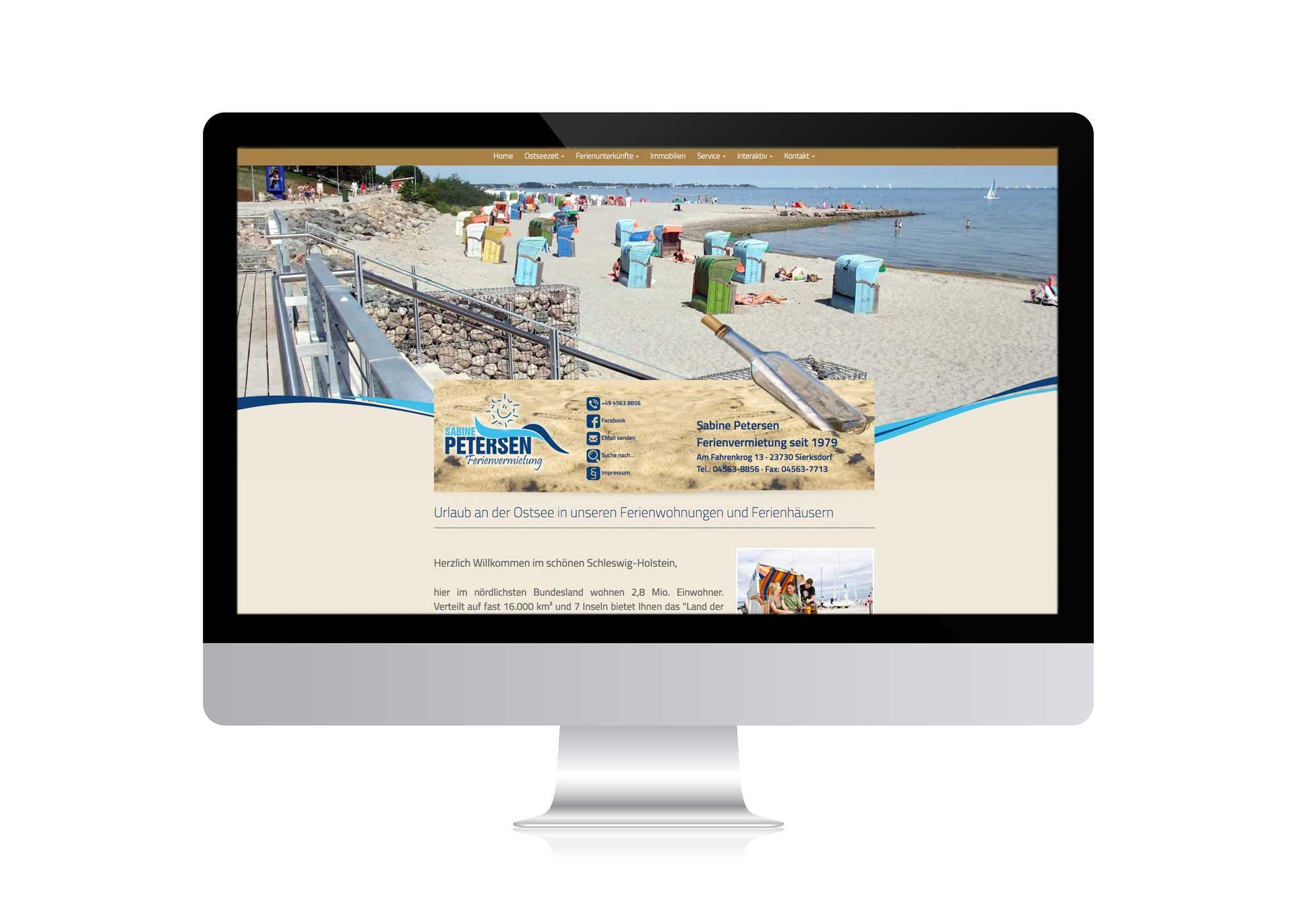 webdesign für Sabine Petersen Ferienvermietung